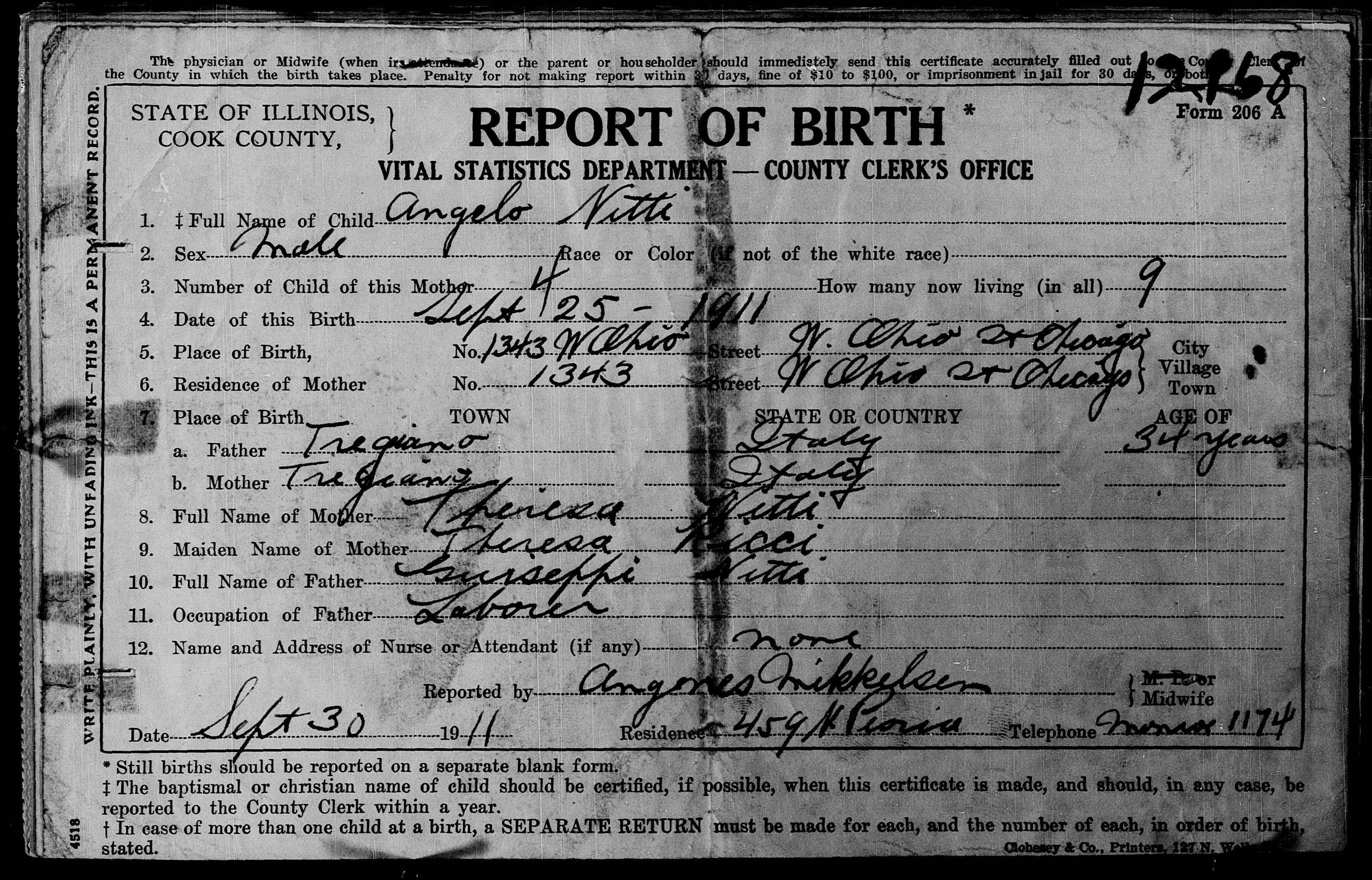 Documents angelo nitti birth certificate schimka family history aiddatafo Image collections